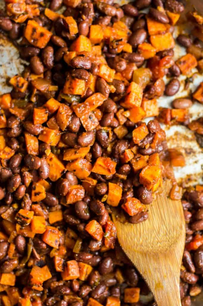 The filling for black bean sweet potato quesadilla mixed together in a skillet.